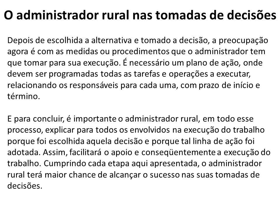 O administrador rural nas tomadas de decisões