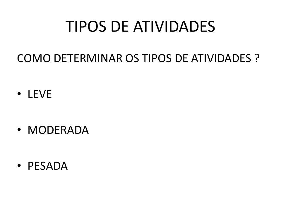 TIPOS DE ATIVIDADES COMO DETERMINAR OS TIPOS DE ATIVIDADES LEVE