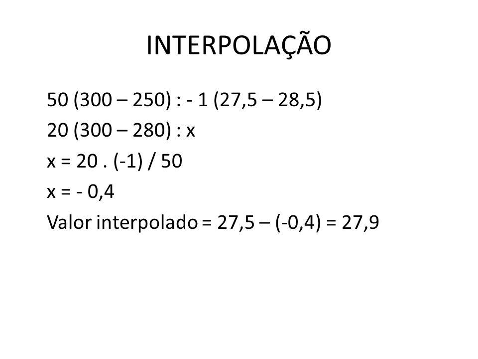 INTERPOLAÇÃO 50 (300 – 250) : - 1 (27,5 – 28,5) 20 (300 – 280) : x x = 20 .