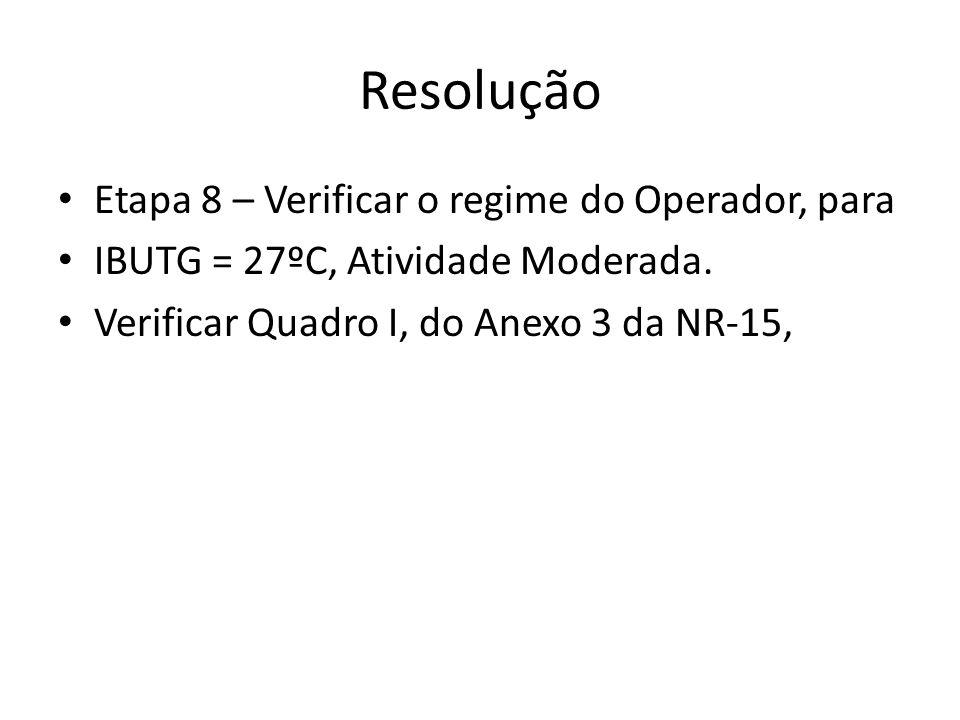 Resolução Etapa 8 – Verificar o regime do Operador, para
