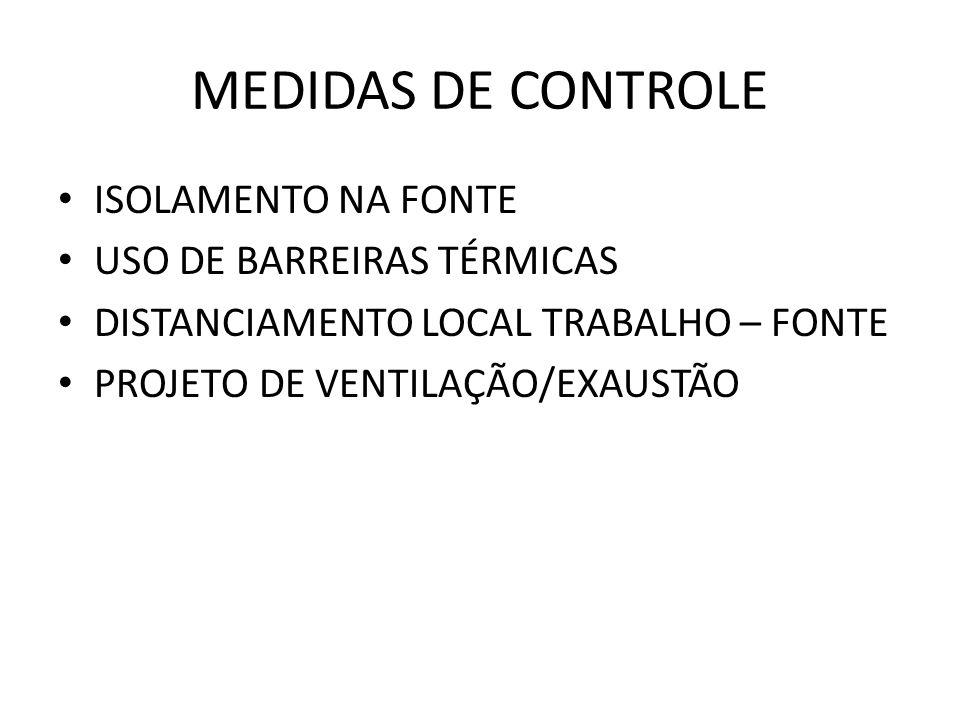 MEDIDAS DE CONTROLE ISOLAMENTO NA FONTE USO DE BARREIRAS TÉRMICAS