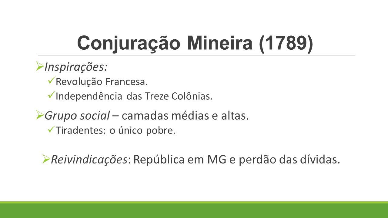 Conjuração Mineira (1789) Inspirações: