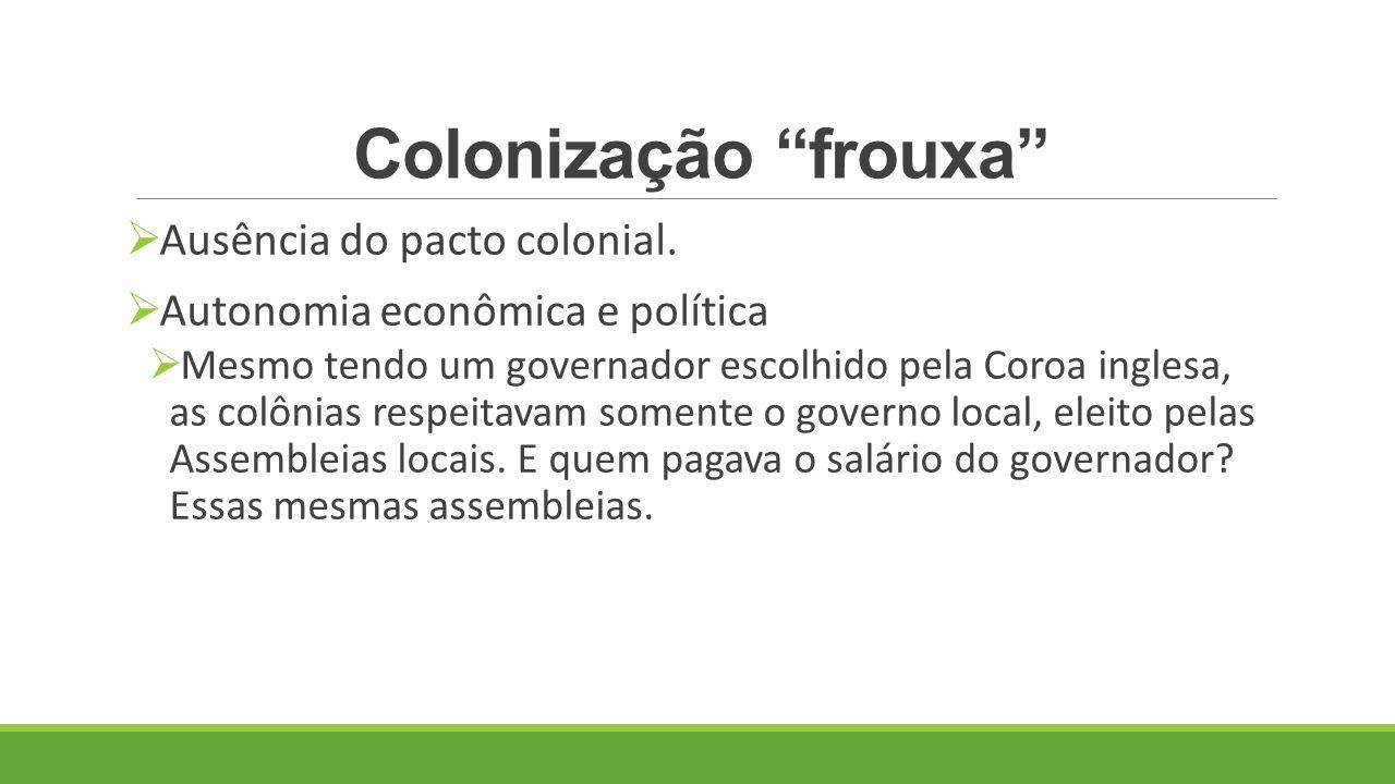 Colonização frouxa Ausência do pacto colonial.