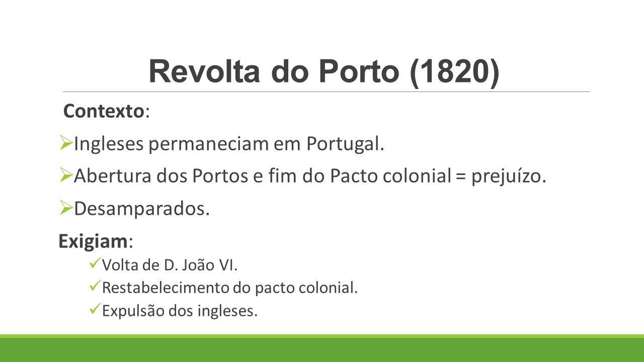 Revolta do Porto (1820) Contexto: Ingleses permaneciam em Portugal.