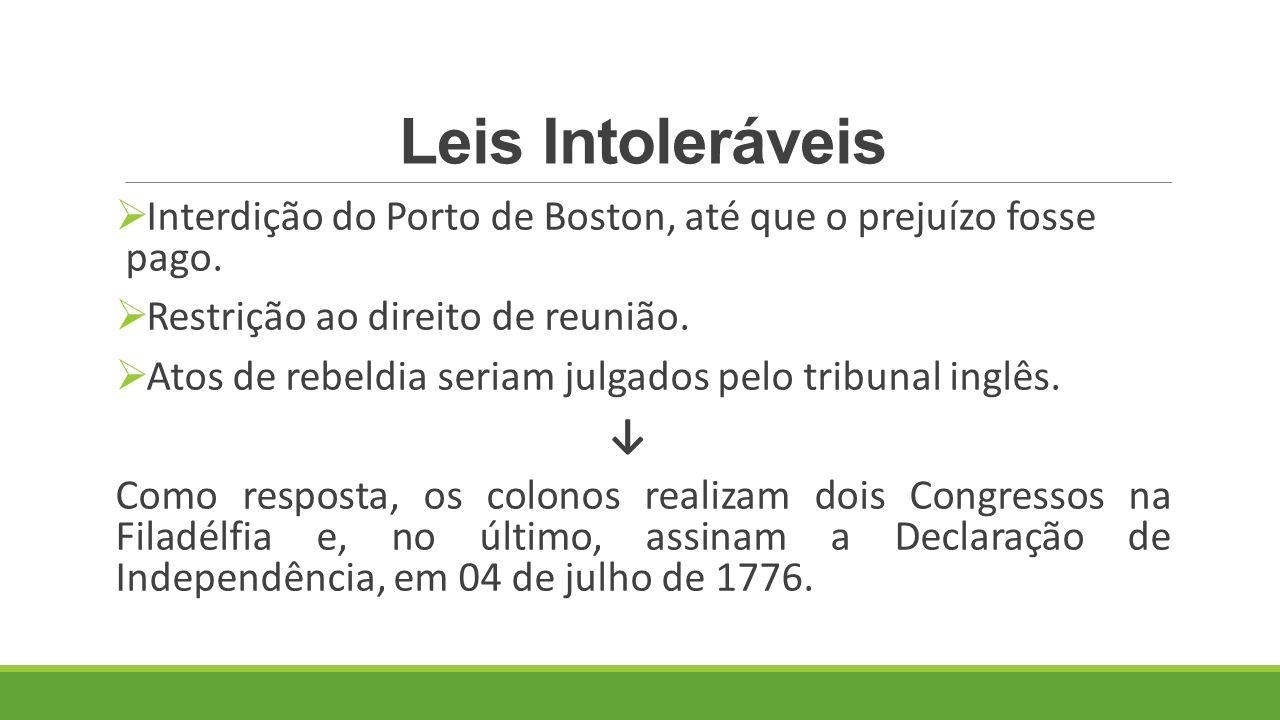 Leis Intoleráveis Interdição do Porto de Boston, até que o prejuízo fosse pago. Restrição ao direito de reunião.
