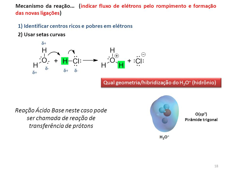 Mecanismo da reação... (indicar fluxo de elétrons pelo rompimento e formação das novas ligações)