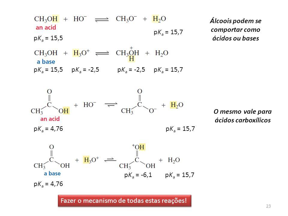 Álcoois podem se comportar como ácidos ou bases