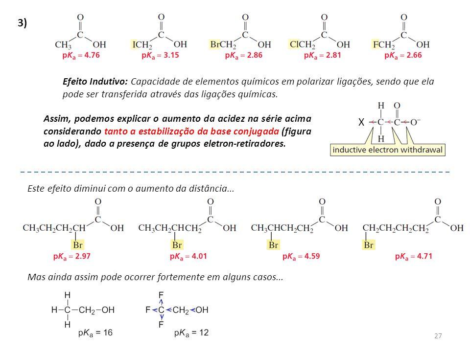 3) Efeito Indutivo: Capacidade de elementos químicos em polarizar ligações, sendo que ela pode ser transferida através das ligações químicas.