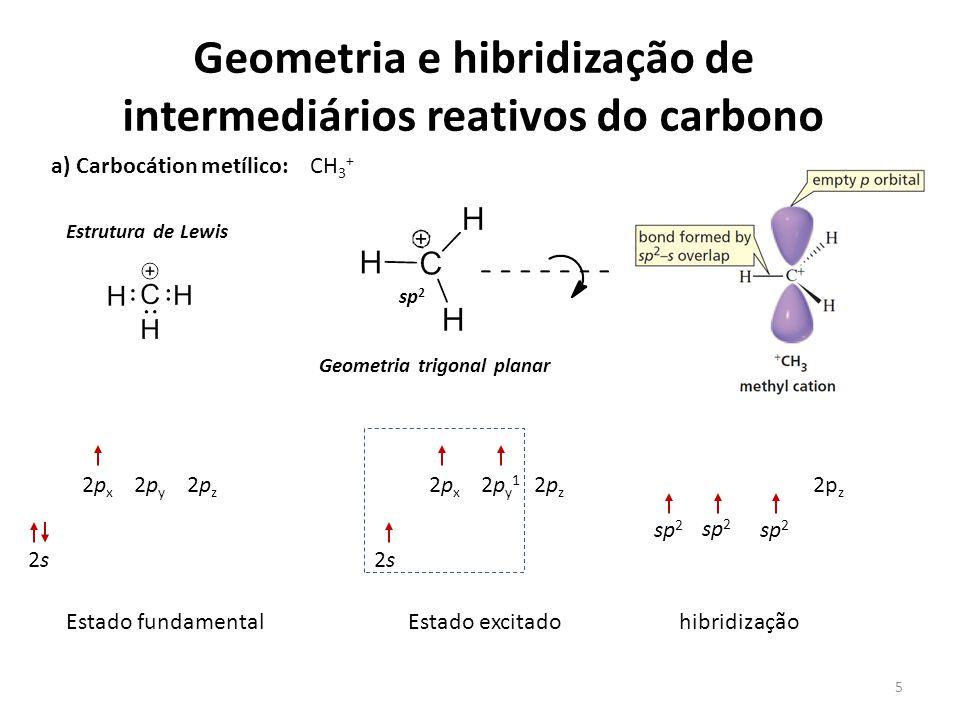 Geometria e hibridização de intermediários reativos do carbono