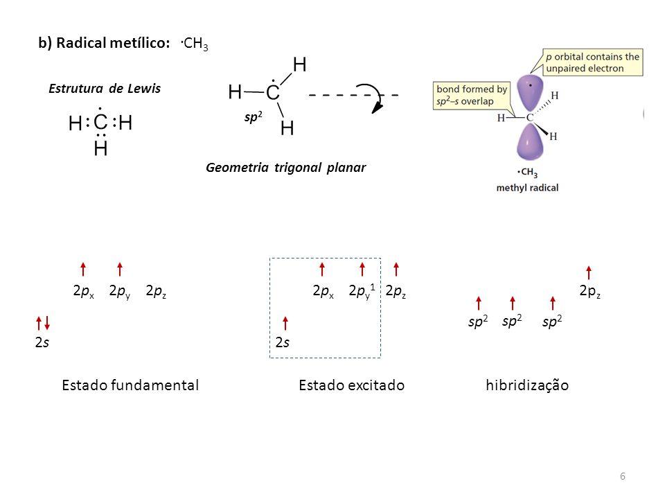 . b) Radical metílico: CH3 2px 2py 2pz 2px 2py1 2pz 2pz sp2 sp2 sp2 2s