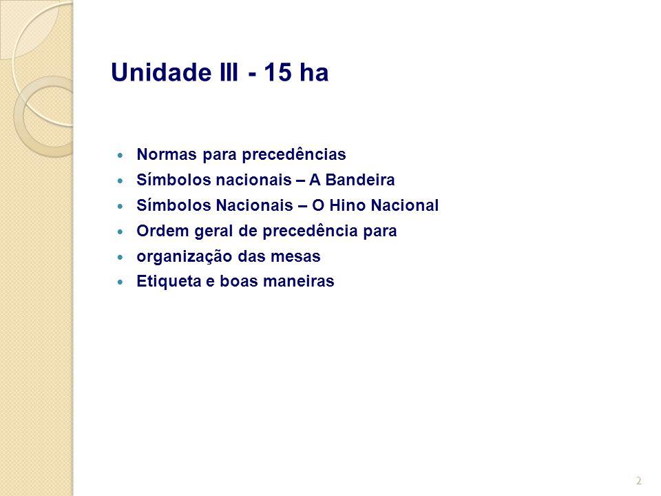 Unidade III - 15 ha Normas para precedências