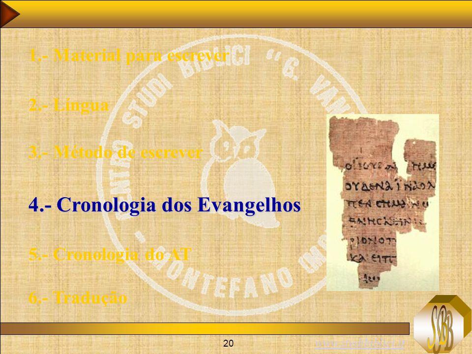 4.- Cronologia dos Evangelhos
