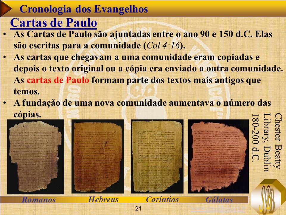 Cartas de Paulo Cronologia dos Evangelhos
