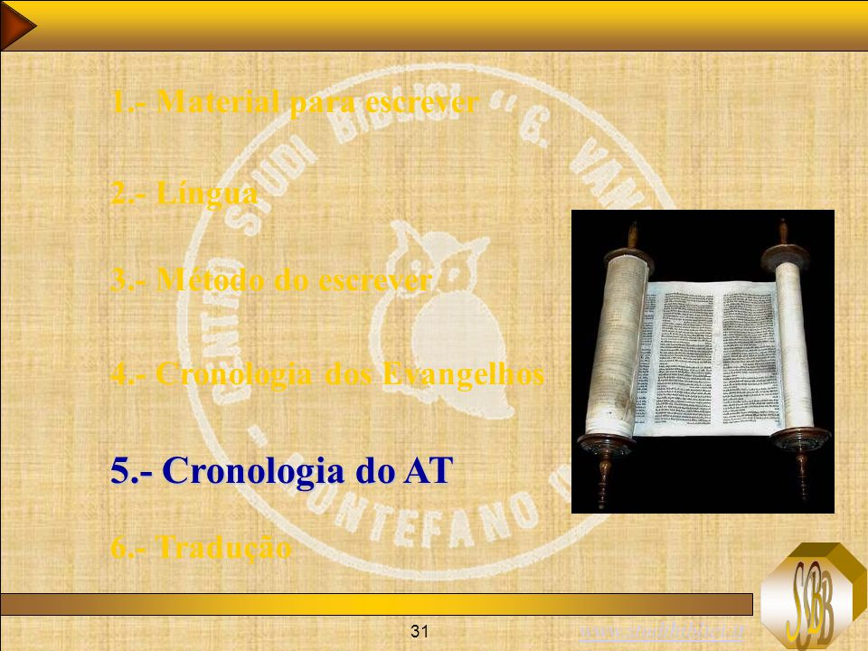 5.- Cronologia do AT 1.- Material para escrever 2.- Língua