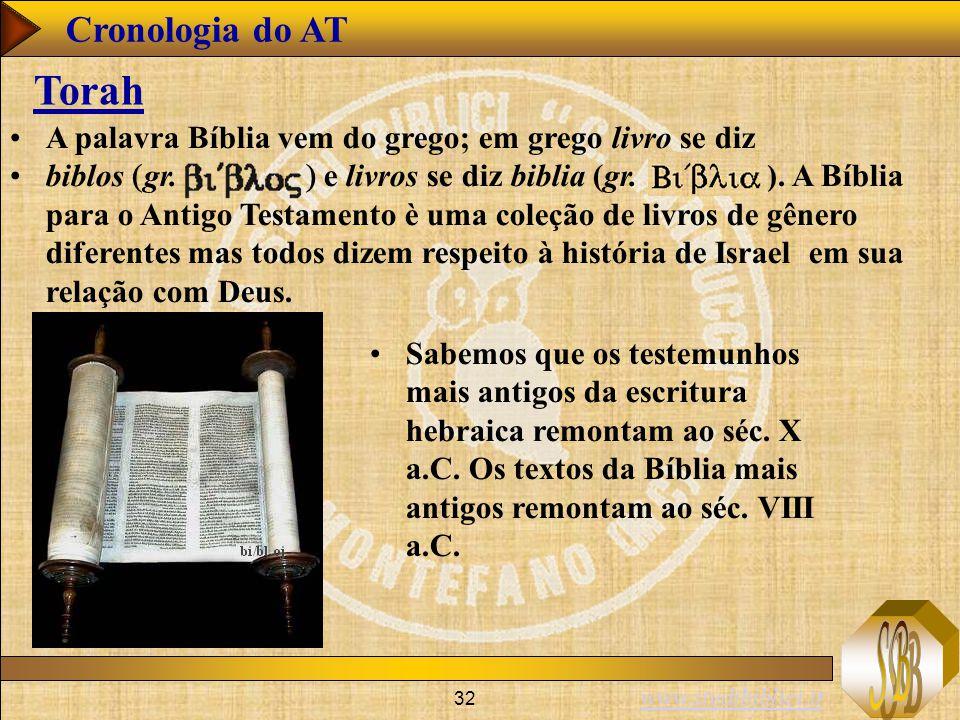 Cronologia do AT Torah. A palavra Bíblia vem do grego; em grego livro se diz.