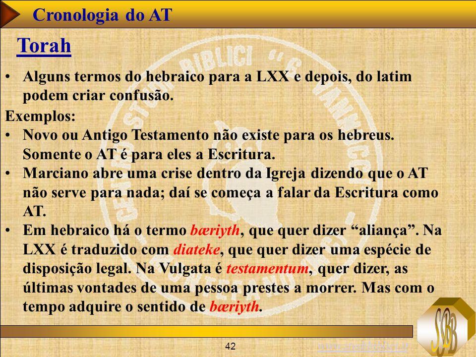 Cronologia do AT Torah. Alguns termos do hebraico para a LXX e depois, do latim podem criar confusão.