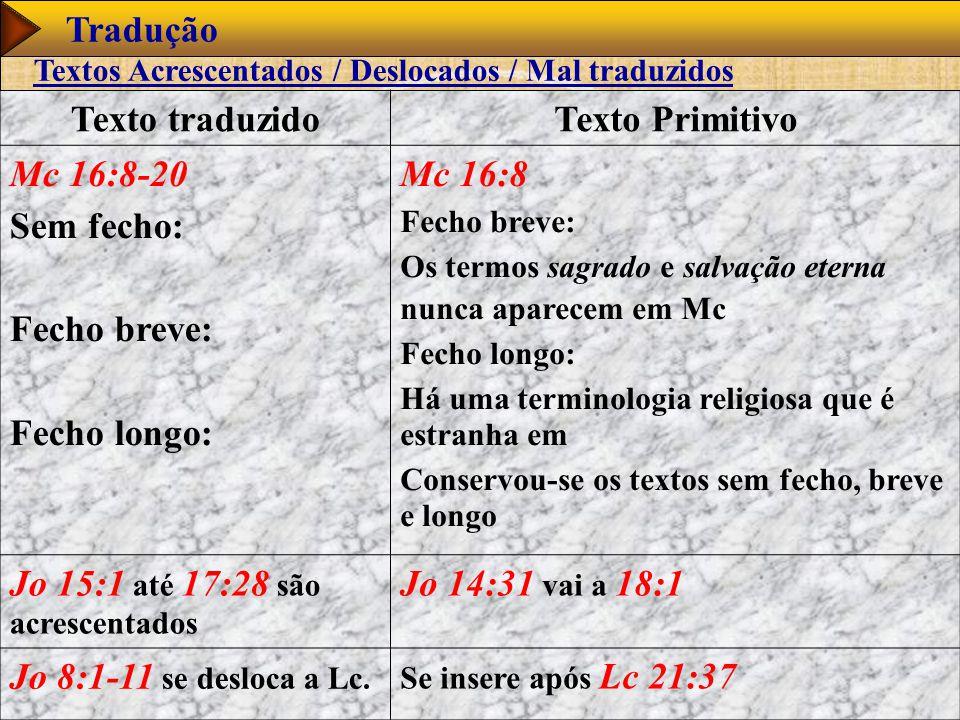 Texto traduzido Texto Primitivo
