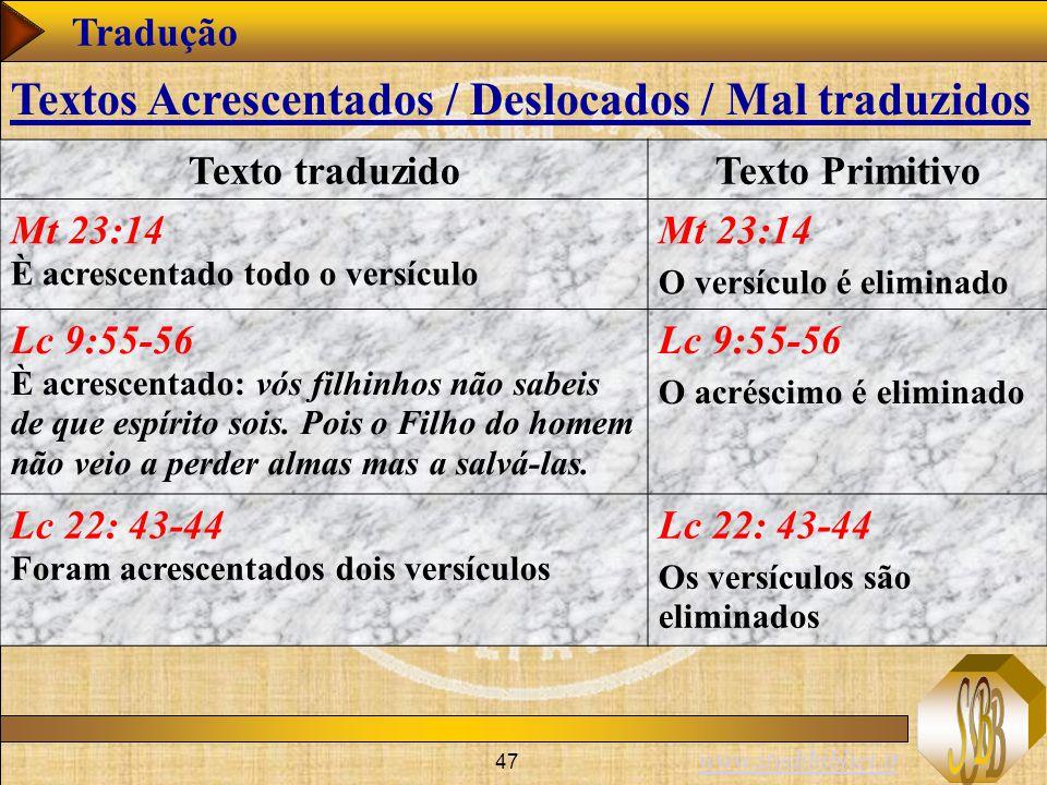 Textos Acrescentados / Deslocados / Mal traduzidos
