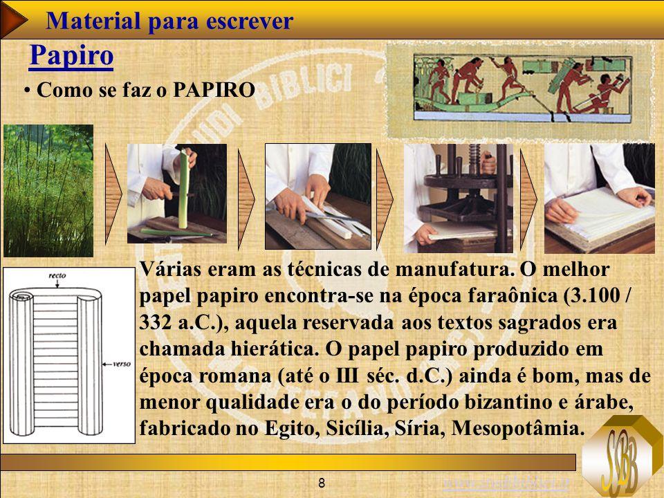 Papiro Material para escrever Como se faz o PAPIRO