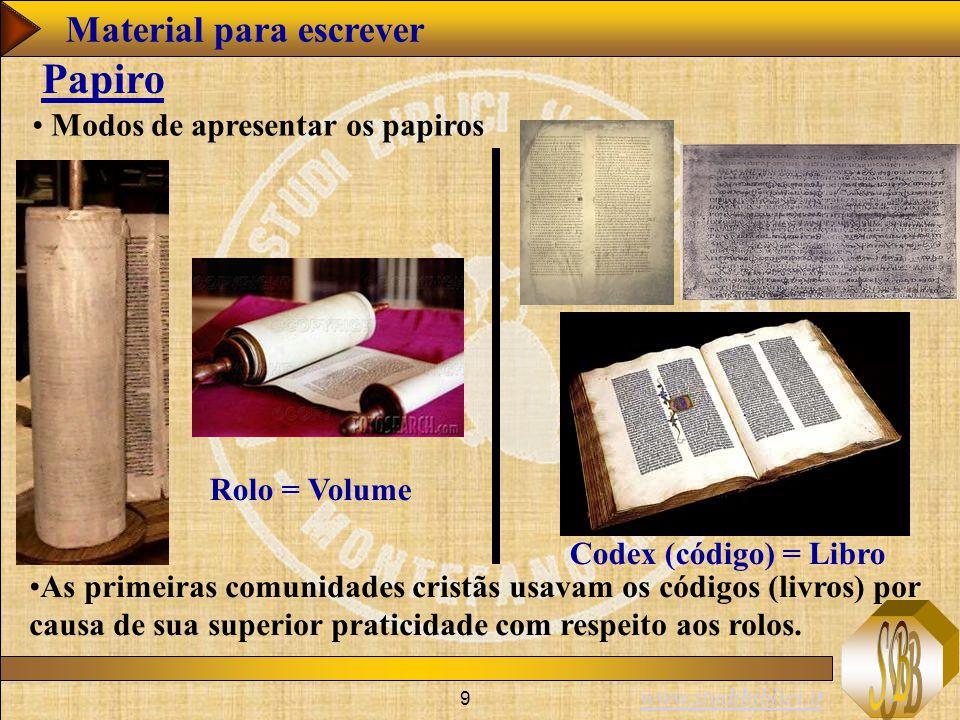 Papiro Material para escrever Modos de apresentar os papiros