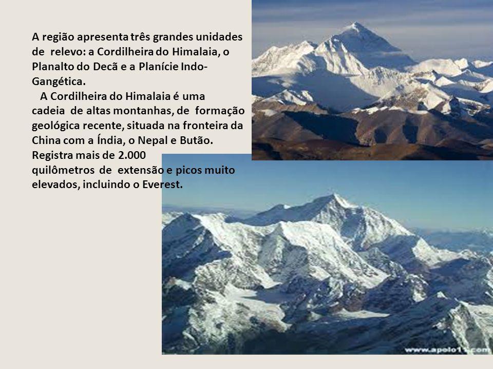 A região apresenta três grandes unidades de relevo: a Cordilheira do Himalaia, o Planalto do Decã e a Planície Indo-Gangética.