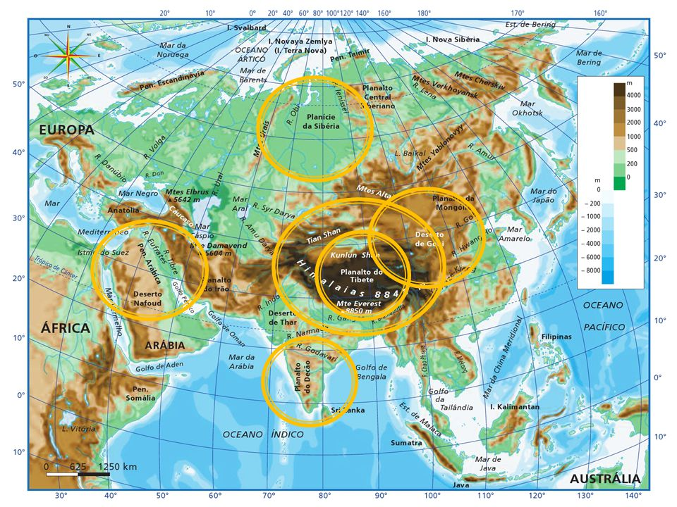 Mapa hipsométrico do continente asiático