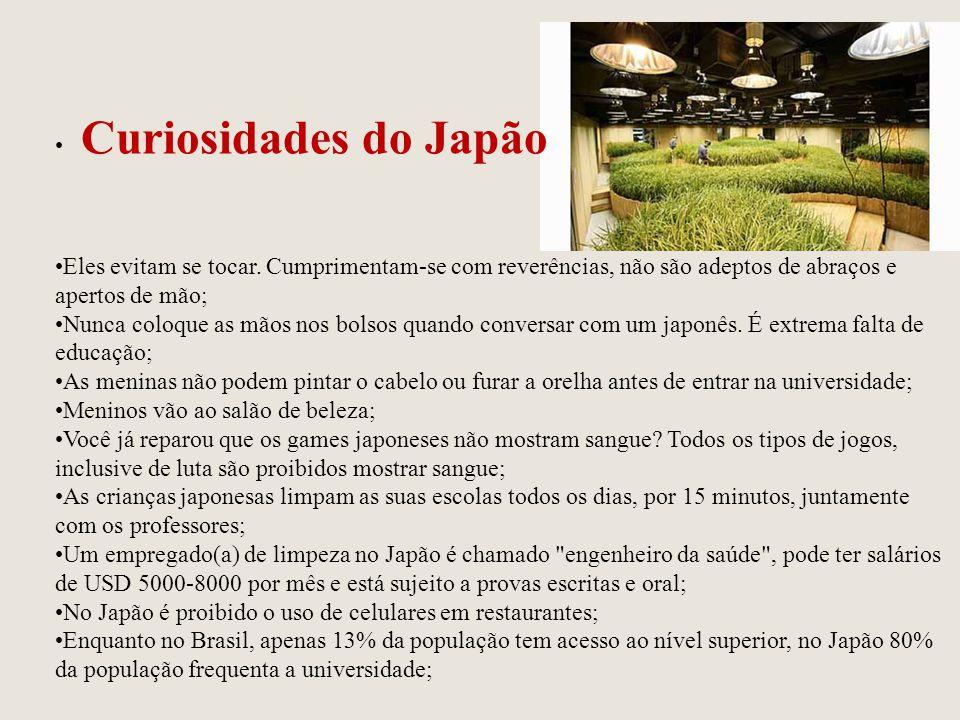 Curiosidades do Japão Eles evitam se tocar. Cumprimentam-se com reverências, não são adeptos de abraços e apertos de mão;