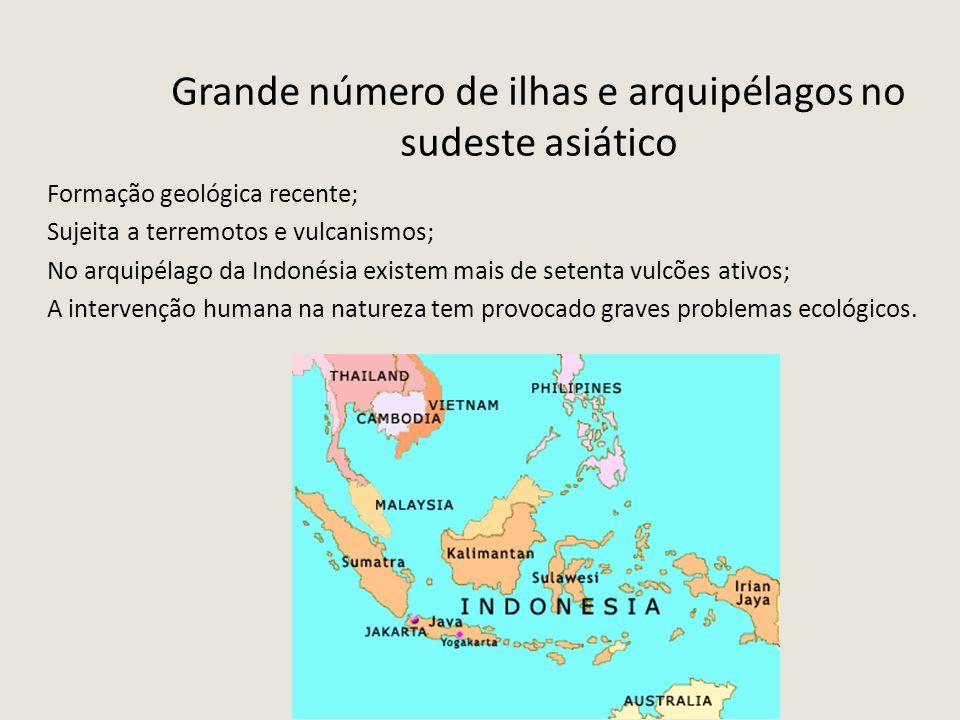 Grande número de ilhas e arquipélagos no sudeste asiático