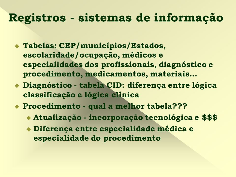 Registros - sistemas de informação