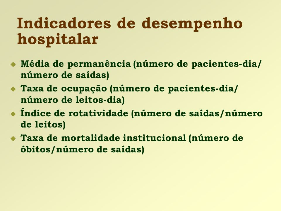 Indicadores de desempenho hospitalar