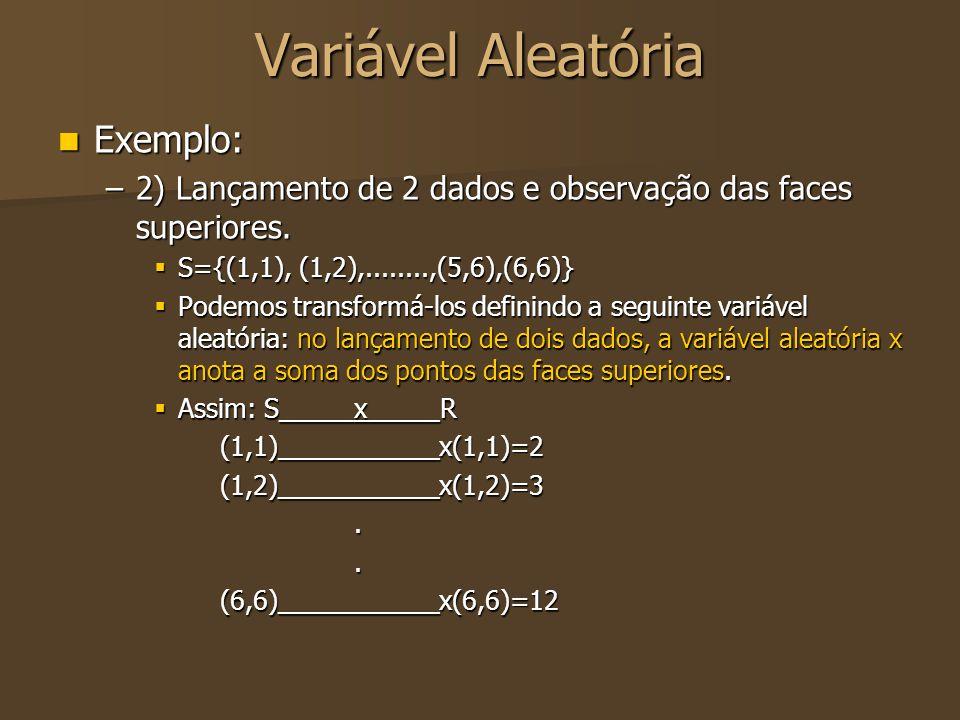 Variável Aleatória Exemplo: