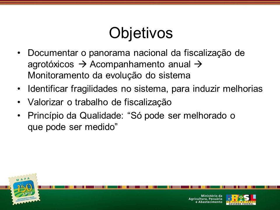 Objetivos Documentar o panorama nacional da fiscalização de agrotóxicos  Acompanhamento anual  Monitoramento da evolução do sistema.