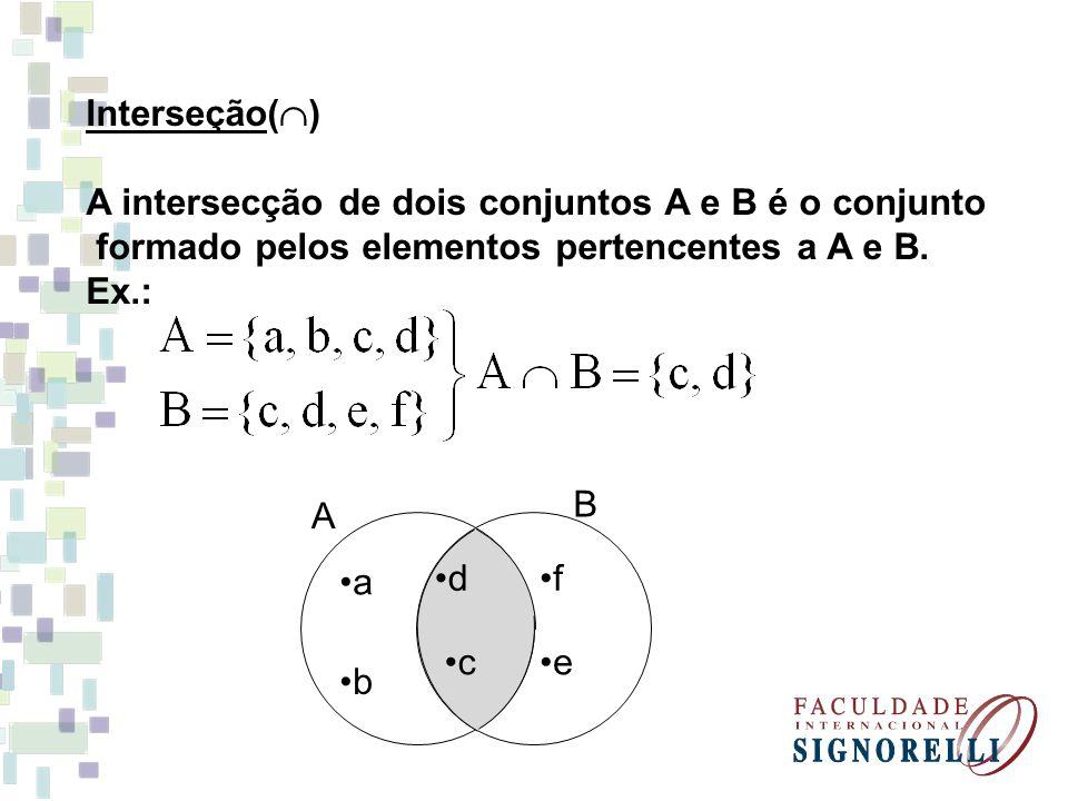Interseção() A intersecção de dois conjuntos A e B é o conjunto. formado pelos elementos pertencentes a A e B.