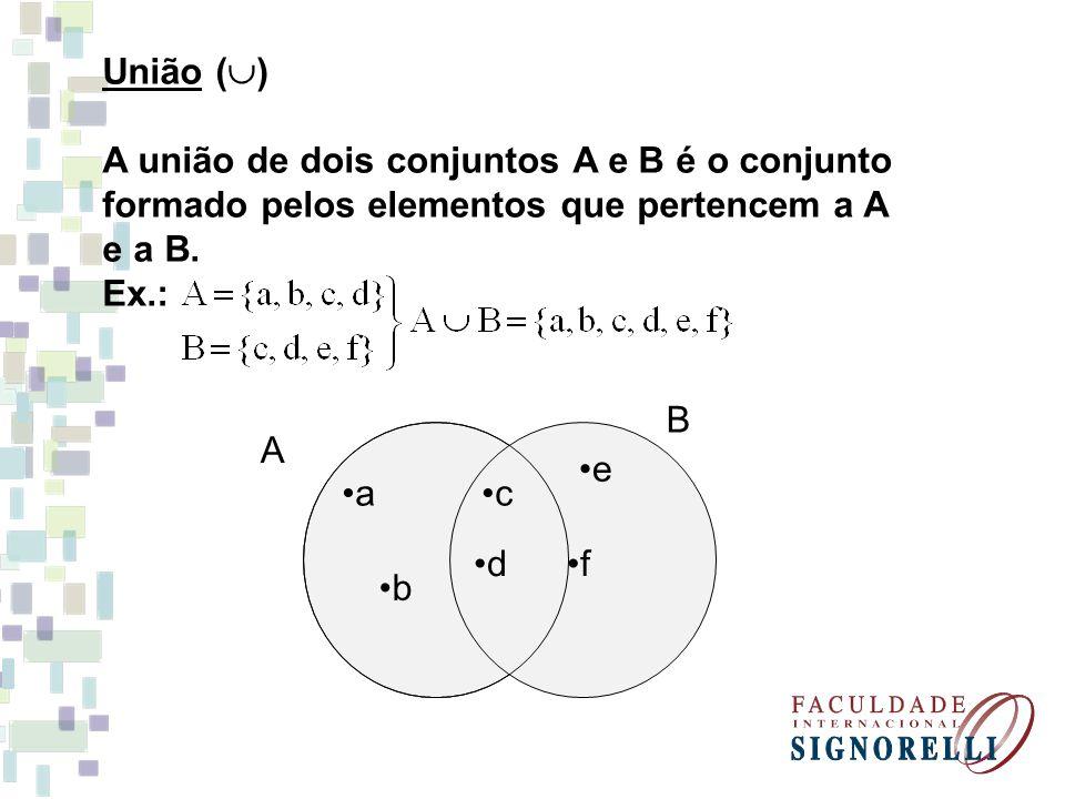 União () A união de dois conjuntos A e B é o conjunto. formado pelos elementos que pertencem a A.