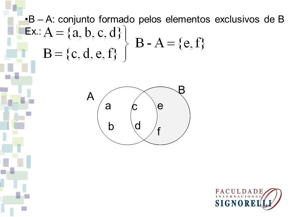 B – A: conjunto formado pelos elementos exclusivos de B