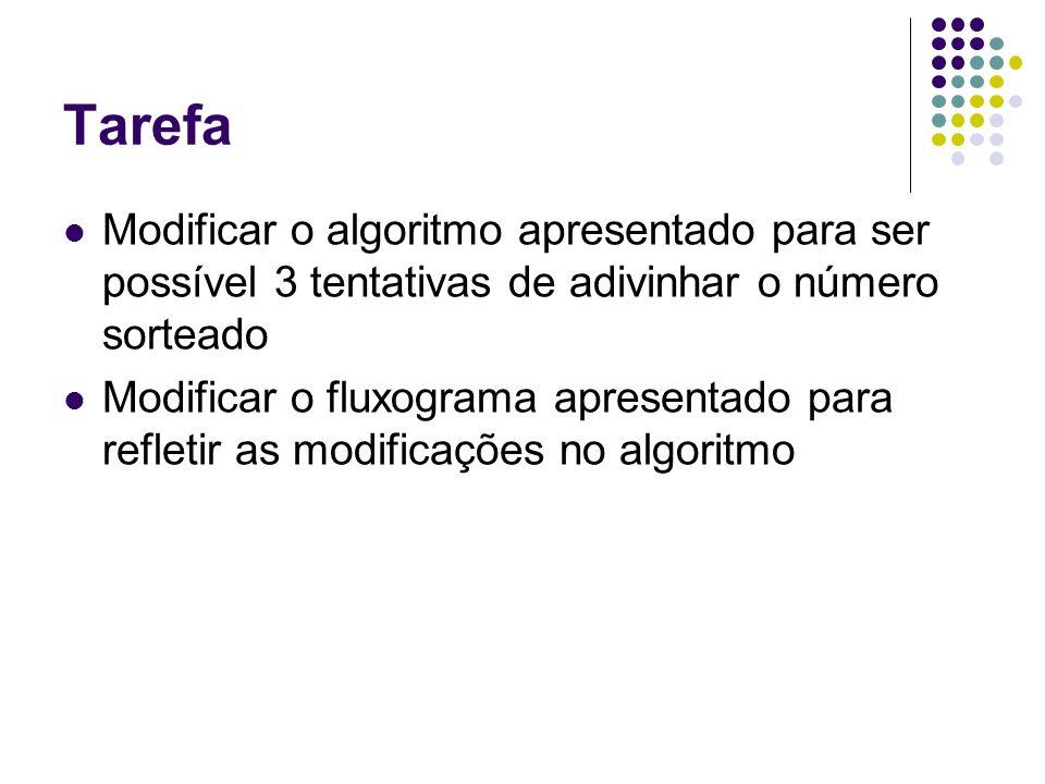 Tarefa Modificar o algoritmo apresentado para ser possível 3 tentativas de adivinhar o número sorteado.