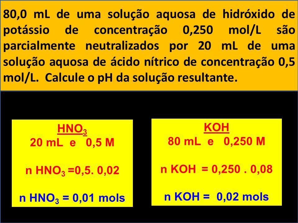 80,0 mL de uma solução aquosa de hidróxido de potássio de concentração 0,250 mol/L são parcialmente neutralizados por 20 mL de uma solução aquosa de ácido nítrico de concentração 0,5 mol/L. Calcule o pH da solução resultante.