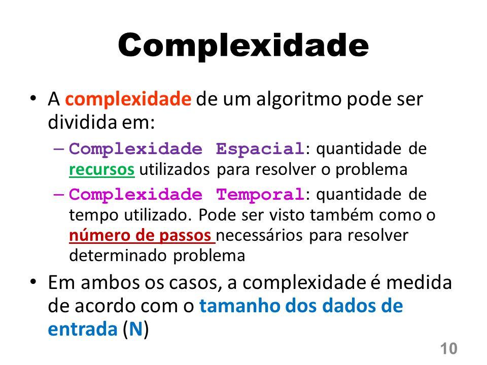 Complexidade A complexidade de um algoritmo pode ser dividida em: