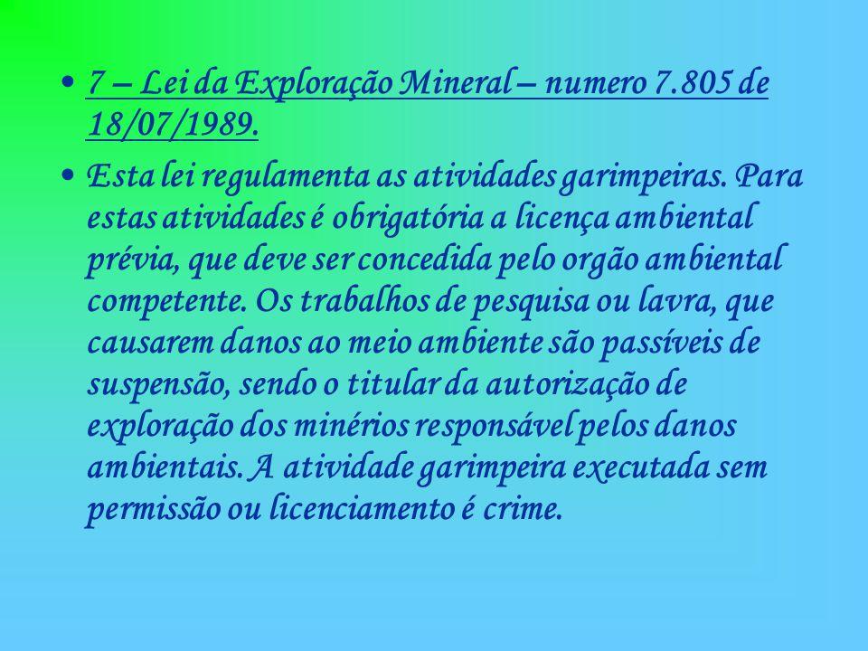 7 – Lei da Exploração Mineral – numero 7.805 de 18/07/1989.