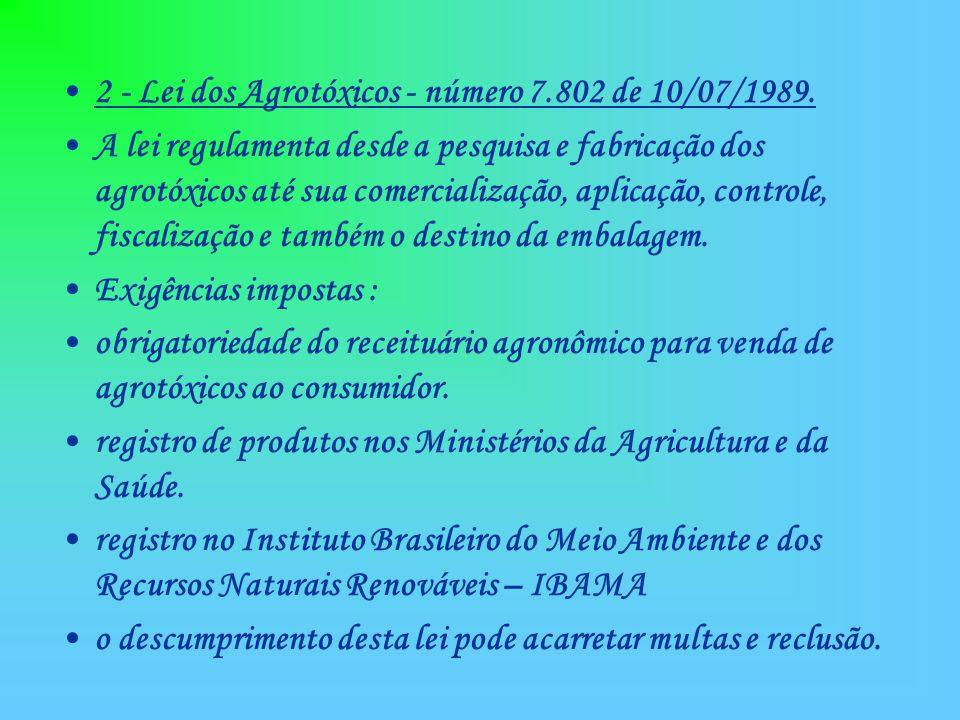 2 - Lei dos Agrotóxicos - número 7.802 de 10/07/1989.