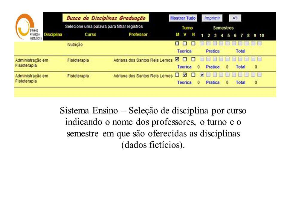 Sistema Ensino – Seleção de disciplina por curso indicando o nome dos professores, o turno e o semestre em que são oferecidas as disciplinas (dados fictícios).