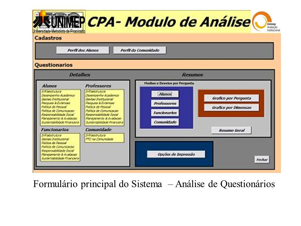 Formulário principal do Sistema – Análise de Questionários