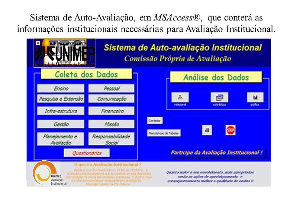 Sistema de Auto-Avaliação, em MSAccess®, que conterá as informações institucionais necessárias para Avaliação Institucional.