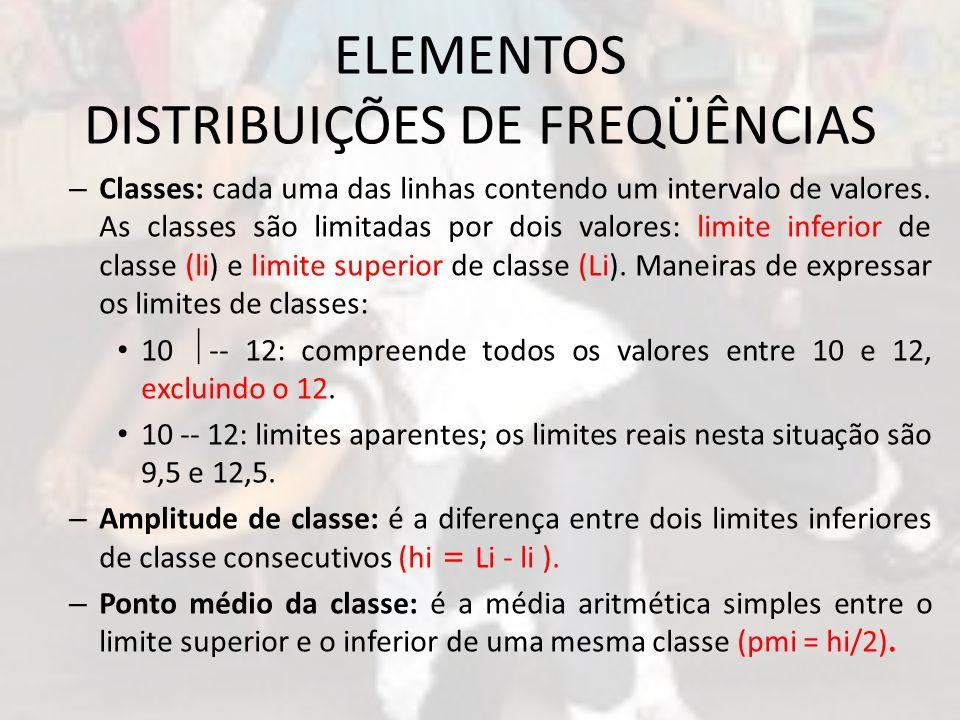 ELEMENTOS DISTRIBUIÇÕES DE FREQÜÊNCIAS