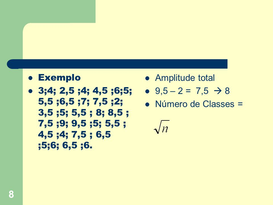 Exemplo 3;4; 2,5 ;4; 4,5 ;6;5; 5,5 ;6,5 ;7; 7,5 ;2; 3,5 ;5; 5,5 ; 8; 8,5 ; 7,5 ;9; 9,5 ;5; 5,5 ; 4,5 ;4; 7,5 ; 6,5 ;5;6; 6,5 ;6.