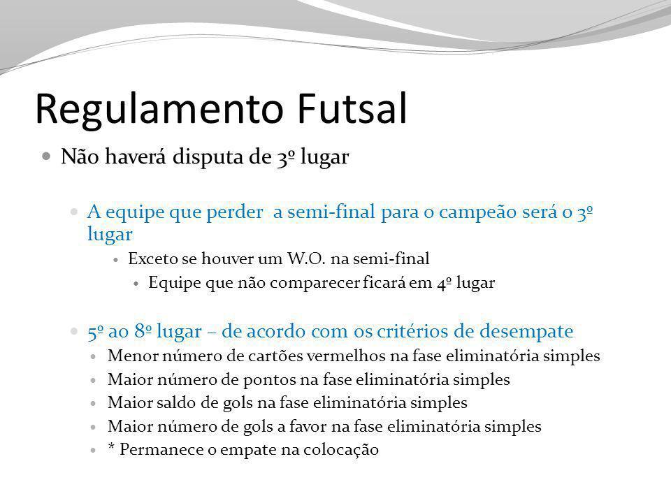 Regulamento Futsal Não haverá disputa de 3º lugar