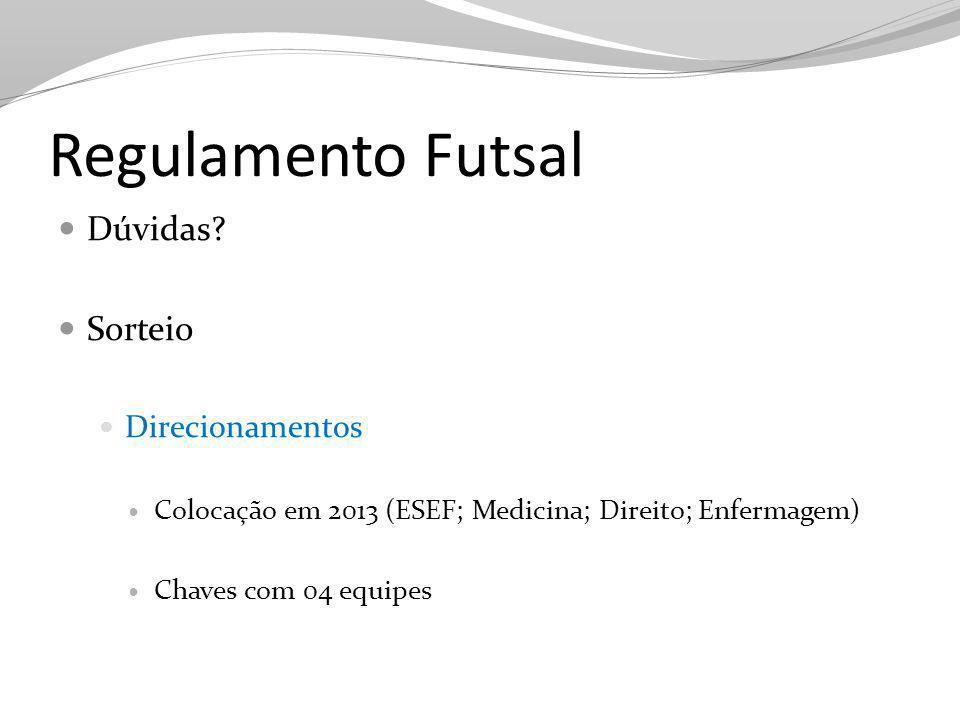 Regulamento Futsal Dúvidas Sorteio Direcionamentos