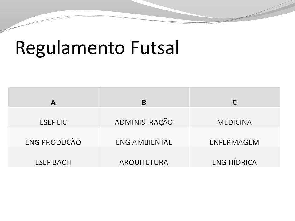 Regulamento Futsal A B C ESEF LIC ADMINISTRAÇÃO MEDICINA ENG PRODUÇÃO