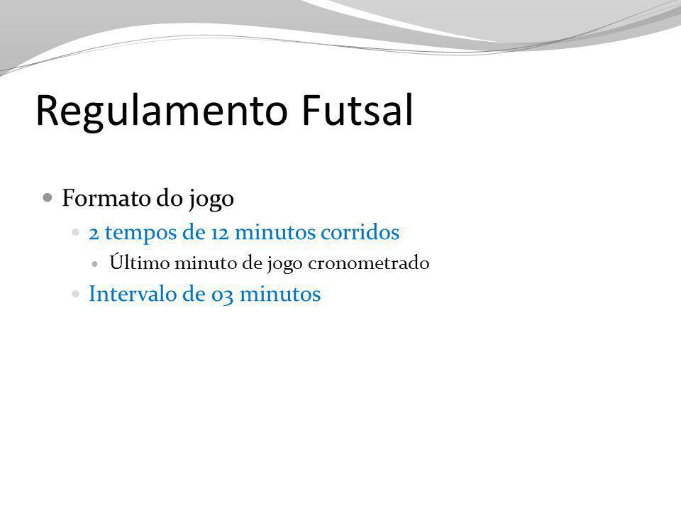 Regulamento Futsal Formato do jogo 2 tempos de 12 minutos corridos