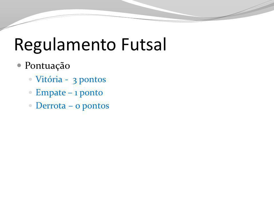Regulamento Futsal Pontuação Vitória - 3 pontos Empate – 1 ponto